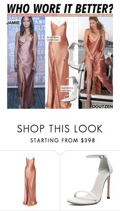 """""""Who Wore It Better?Jamie Chung or Doutzen Kroes in Michelle Mason Silk Satin Wrap Gown"""" by kusja ❤ liked on Polyvore featuring Mason by Michelle Mason, Stuart Weitzman, WhoWoreItBetter, doutzenkroes, jamiechung and wwib"""