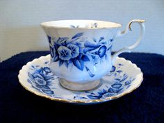 Royal Albert Melody series, rhapsody blue porcelain tea cup and saucer .