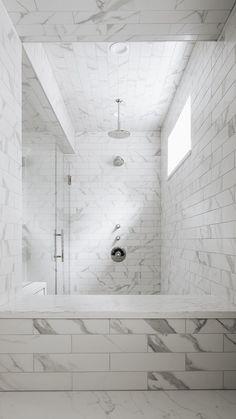 Master Shower Tile, Marble Tile Bathroom, Subway Tile In Shower, Bathroom Tile Patterns, Tiled Walls In Bathroom, Bathroom Shower Tiles, Bathroom Shower Remodel, Tiled Showers, Marble Showers