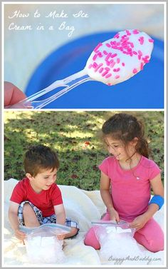 A super fun science activity for summer! (How to Make Ice Cream in a Bag w/ FREE Science Observation Printable)~ Buggy and Buddy Science Activities For Kids, Preschool Science, Science Experiments Kids, Stem Activities, Science Projects, Educational Activities, Learning Activities, Science Fun, Science Chemistry