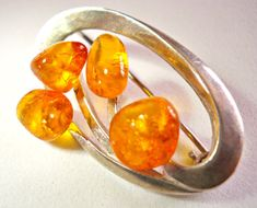 Baltic Amber Brooch Pin Sterling Silver Poland by RenaissanceFair
