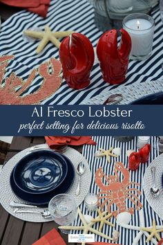 Classic navy Lobster Risotto, China Plates, Table Accessories, Fresh Apples, Venetian Glass, Cinnamon Apples, Sweet Bread, Dinner Plates, Fresco