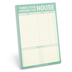 Knock Knock Things to Do Around the House notepad lets you track your household to-do list or honey-do list. This pad makes a useful household gift.