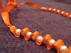 DIY - Jewelry this would be cute for halloween, orange ribbon with black beads!