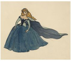 "An early concept drawing of Aurora's birthday dress. | A Wonderful Look At The Behind-The-Scenes Art Of ""Sleeping Beauty"""