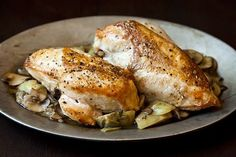 Fall Recipes Roast chicken with Artichoke hearts and mushrooms