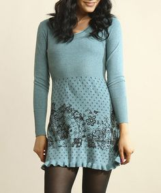 Take a look at this Teal Ruffle Sweater Dress by Young Threads on #zulily today! Needs leggings. Misses Clothing, Autumn Winter Fashion, Fall Fashion, Frocks, Style Me, That Look, Cool Outfits, Teal, Feminine