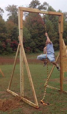 Rope Climb: This will be next to the punching bag and industrial pull up bar. Backyard Gym, Backyard Obstacle Course, Backyard Playground, Playground Design, America Ninja Warrior, Ninja Warrior Course, Garage Gym, Spartan Race Training, Fitness Trail