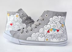 Designer Clothes, Shoes & Bags for Women Painted Canvas Shoes, Hand Painted Shoes, Custom Sneakers, Custom Shoes, Kawaii Shoes, Sneaker Art, Baskets, Plimsolls, Shoe Art