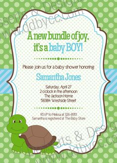 What Do You Think Of This Invitation Sara Baby Turtle Shower Boy By Dessertsdesigns