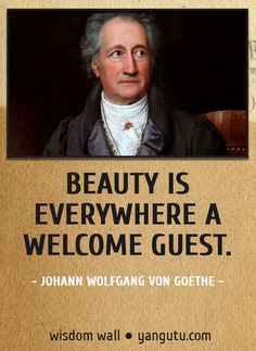 Beauty is everywhere a welcome guest, ~ Johann Wolfgang von Goethe Wisdom Wall Quote #quotations, #citations, #sayings,