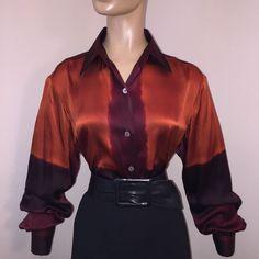 OMBRÉ SUNSET Ellen Tracy 100% SILK LIQUID SATIN Vtg BLOUSE Shirt 8 M/L Bust 42  | eBay