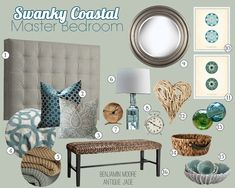 Swanky Coastal Master Bedroom and Bathroom Mood Boards by Teal & Lime