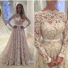Long Sleeve Prom Dress,Lace Prom Dress,Fashion Bridal Dress,Sexy