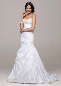 Wedding Dress Strapless taffeta mermaid gown features beaded appliques on bust and hip.  Fitted ruched bodice accentuates your figure.  Corset Back provides a perfect fit and gorgeous silhouette.  Chapel train. Corset back.