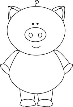 cute pig clip art | ... Pig Clip Art Image - black and white outline of a pig standing up