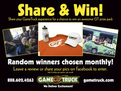 "Share your GameTruck story for your chance to win cool GameTruck year. We will be conducting drawings each month for the rest of the year on our Facebook page. Tell us about your party and post pictures of the event! When is the contest? Monthly beginning April 1, 2016 Where is the contest being held? It's all … Continue reading ""Share Your GameTruck Story and Win"""