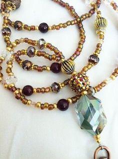 """Victorian Gypsy"" Crystal Prism Agate Beaded Lanyard ID Badge Holder | eBay"