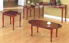 Queen Anne Style Cherry Finish Wood Coffee Table 2 End Tables Set Home Office Furniture, Furniture Sale, Table Furniture, Living Room Furniture, Living Room Decor, Furniture Design, Coffee Table Rectangle, Coffee And End Tables, End Table Sets