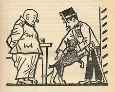 "Josef Lada – Illustration for Jaroslav Hašek's ""The Good Soldier Švejk and His Fortunes in the World War,"" 1924 The Good Soldier Svejk, World War One, First Novel, Book Authors, Books, Book Illustration, Art Images, Dog Cat, Literature"