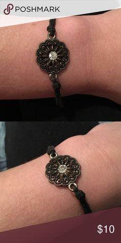 Brass Floral Knot Bracelet Simple metallic floral Charm Bracelet on chord wrap Jewelry Bracelets