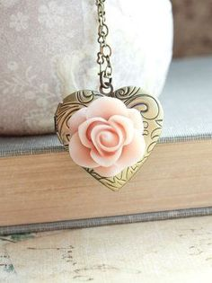 Heart Locket Necklace Pink Rose Shabby Chic