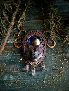 Fox necklace Polymer clay necklace Fox polymer clay Purple