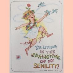 Handmade Fridge Magnet-Mary Engelbreit Artwork-I'm Living In The Springtime Mary Engelbreit, Getting Old, Great Quotes, Just In Case, Illustrators, Birthday Cards, Clip Art, My Love, Words