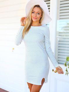 Cooper Stripe Dress (White)   New Arrivals   Women's Fashion and Clothing   Online Shopping - Mura Boutique Striped Dress, White Dress, Mura Boutique, Online Fashion Boutique, Summer Wear, Online Boutiques, Skirt Fashion, Skater Dress, New Dress
