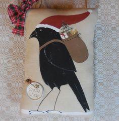 Primitive Santa Crow Hand Painted Wall Hanging Pillow Ornie Santa Hat & Pack #NaivePrimitive #Idid