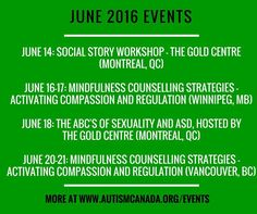 Our National Events Calendar features conferences lectures workshops and trainings across Canada. Browse the listings and/or submit your own event. #AC40 #autismcanada #asd #spectrum #aspergers #autismawareness #autismacceptance #calendar #event #conference #training #workshop #canada #knowledge