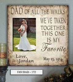 FAV/DAD: 12x12 Holds 5x7 Photo Father of the by PhotoFrameCompany Wedding Canvas, Wedding Frames, Wedding Signs, Wedding Day, Personalized Photo Frames, Personalized Wedding Gifts, Dad Pictures, Father Of The Bride, Bride Gifts