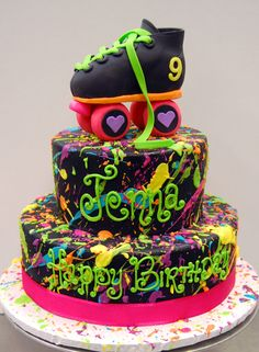 We like, totally LOVE this rad throw-back cake, fer sure. Neon Birthday Cakes, 80s Birthday Parties, Birthday Cake Girls, 8th Birthday, Birthday Ideas, Skate Party, Roller Skating Party, Neon Party, 90s Party
