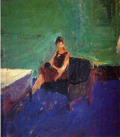 femme assise vert intérieur - (Richard Diebenkorn)