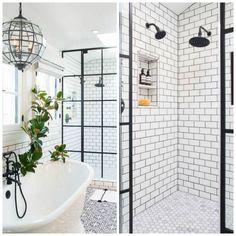 décoration de salle de bain avec cabine de douche vitrée