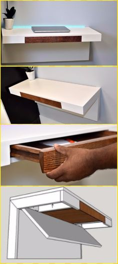 DIY Wall Mounted Desk Free Plans & Instructions: Easy Wood Working Desk, Wood Wall Desk, Floating desk, fold down desk, storage desk Wall Mounted Desk, Wall Desk, Retro Furniture, Home Furniture, Furniture Outlet, Furniture Stores, Discount Furniture, Samsung Tv Wall Mount, Fold Down Desk