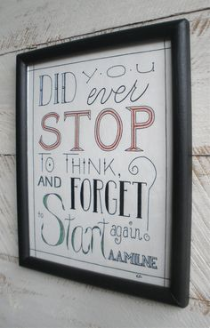 Hanging Wall Art, Typography Design, A. A. Milne Quote