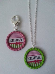 Personalized bottle cap necklace with matching clip on/zipper pull.  Cute pattern and colors!