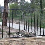 The Best Yet Inexpensive Front Yard Fence Ideas : Lovely Wrought Iron Fence Front Yard with Stone Pillars. Iron Fence Gate, Metal Driveway Gates, Metal Gates, Metal Railings, Wrought Iron Fences, Stair Railing, Stairs, Wood Fence Design, Railing Design