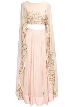Blush pink embroidered cape lehenga set available only at Pernia's Pop Up Shop.#pratyushagarimella #newcollection #festive #designer #clothing