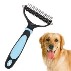 SOOKOO Pet Dematting Comb with 2 Sided Professional Grooming Rake for Cats and Dogs, Removes Loose Undercoat, Mats, Tangled and Knotted Hair * Remarkable product available now. : Dog Grooming