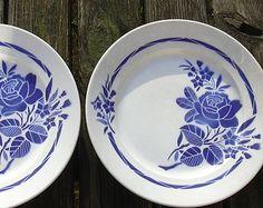 Antique ensemble de 2 assiettes Badonviller français avec décor de roses bleues, 1900 1905.