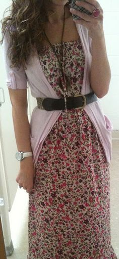 Floral maxi dress with a cardigan and belt. Going to try and pull off a similar look for Easter. Just got a maxi dress and cardigan from Ross.