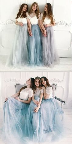 d799c24b0e0 Cheap Two Piece Round Neck Long Light Blue Grey Silver Purple Lilac Tulle  With Top Lace Bridesmaid Dresses
