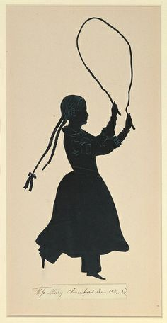 """Tombstone:  Silhouette, """"Portrait of Mary Chambers Jumping Rope"""", 1844.  1844. Brush and black tempra, white chalk on gray wove paper, cut and mounted on cream colored card  Smithsonian, Cooper-Hewitt, National Design Museum"""