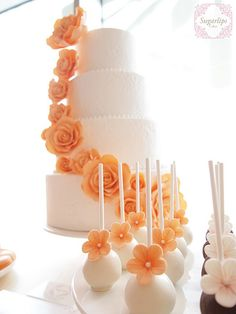 Dessert Table. Wedding Cake & cakepop but with balloons instead of flowers, yellow, grey, teal