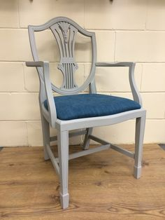 Shield Back Carver Dining Chair painted with Pure & Original Classico Chalk Paint in Evening Shadow, reupholstered in a heavy teal fabric
