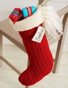 Christmas knitted stocking,Red Aztec Knitted Stocking for Christmas,Crochet Christmas Stocking #christmas #knitted #socks www.loveitsomuch.com