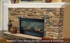 faux stone tile fireplace - brown hues