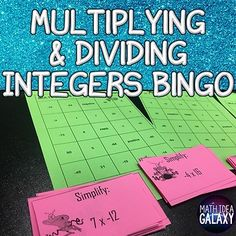 This bingo game will help your students practice multiplying and dividing integers in a fun and engaging whole class game. 30 question cards ready to print and go! Let's get practicing with multiplying & dividing integers! Class Games, Math Games, Integers Activities, Multiplying And Dividing Integers, Negative Integers, Bingo Chips, 7th Grade Math, Math Practices, Common Core Math